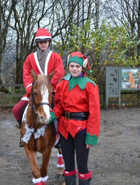 Kirsty Fielding on pony Maggie with Ellie Stansfield at the Horseman's Carol Service
