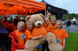 Dobcross competitors with their mascot