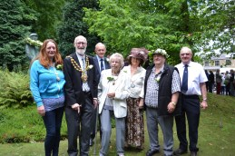 Chairman's consort Helen Harrison, Mayor of Oldham Derek Heffernan and his wife Di, Michael Hall from the White Rose Society, Saddleworth Parish Council chairman Cllr Pam Byrne, Geoff Bayley, chair of White Rose Society, and Bob Rodgers