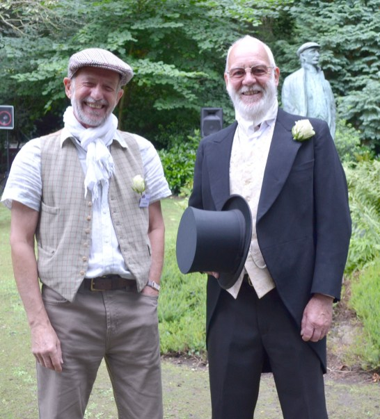 Charlie Middlewood, museum volunteer, as Ammon Wrigley fan with Steve Whitehead, Trustee and volunteer dressed as James Platt, who built the mill nearby