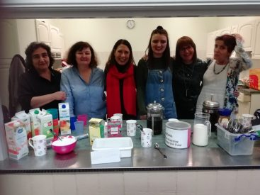 Debbie Abrahams with Saddleworth Palestine Women's Scholarship Fund supporters - serving teas