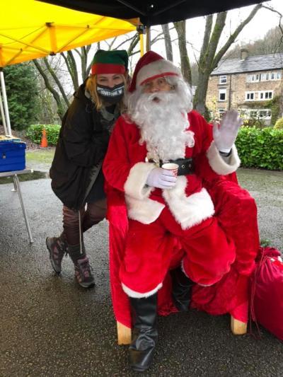 Dovestone WI president Jess Moreland with Santa