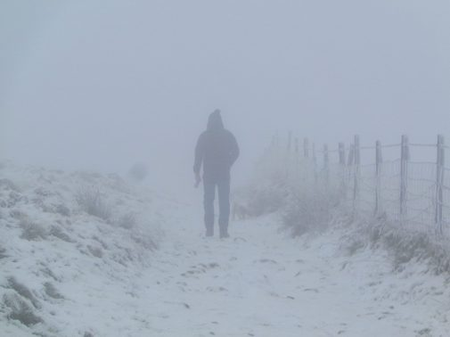 """2nd prize, Under 11s: Florence Howard - Misty Man """"I took this picture on the Pennine Way near Black Moss reservoir because it shows a man (my dad) walking into the mist which reflects the uncertain future of the planet."""""""