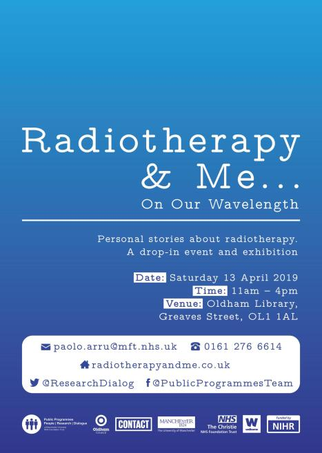 Flyer - On Our Wavelength Event 13.04.19 - Radiotherapy and Me - page 1