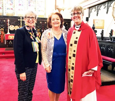 Helen Lennie with Cllr Pam Byrne and Rev Canon Jones