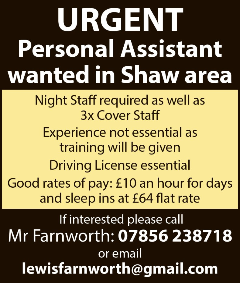 79566fe579 Job advert  personal assistant and care staff wanted – Saddleworth ...