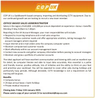 Job vacancy: office based sales administrator with COP UK