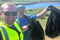 Luke and Paul with litter bas