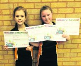 Mia Dyer and Jenna Davies, from St Anne's, Lydgate with their player-of-the-match certificates