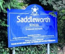 Saddleworth School sign smaller