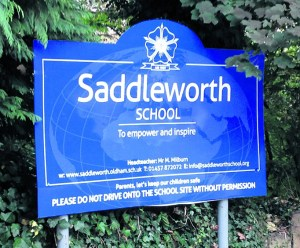 Saddleworth School sign smaller