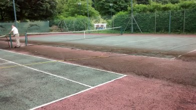 Courts being cleaned for new surface