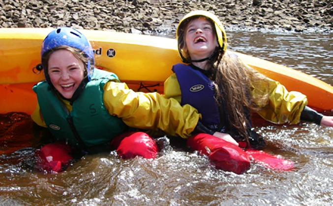 Girls enjoying canoeing in 2011