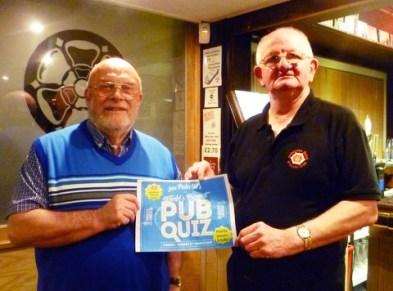 Quizmaster Geoff Iles and John Holden, Dobcross Band Club steward