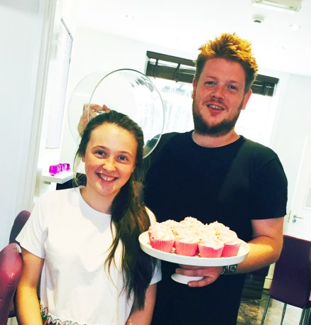Andy Watson and Rowena Thewlis from Bed in Uppermill with some of the cupcakes