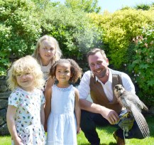 PICS: Charlotte, Imogen and Grace with falconer Luke and hawk Jet