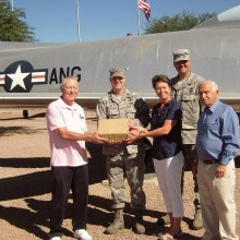 Left to right: George Bidwell, President STS; A/F Major Paul Jefferson; Barb Garve, ANG Family Support; A/F M/Sergeant Trevor Harvey; Sheldon Israel, VP STS - Delivering $4500 worth of food cards to Military