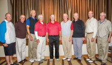 Left to right: Mike Harris, Bob Edelblut, Bob Maruniak, Tom Fitzgerald, Dennis Marchand, Scott Newberry, Bob Eder, Dick Helms and Greg Cahill. Not shown: Ron Victor and Otto Voorman