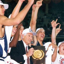 1997 NCAA National Champions Arizona Wildcats with Coach Lute Olson.