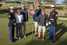 Golfers thanked the troops for their service at the honorary U.S. Marines hole.