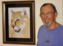Harry Huizinga's color pencil Mountain Lion; photo by J. Cohen.