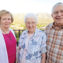 Pastor Palmer Ruschke with wife Lois and Ann Patterson-Barton