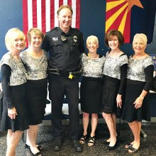 Pictured with Officer Charley Foley are Linda Schuttler, Laurie Page, Vivian Herman, Ann Kurtz and Claudia Booth.