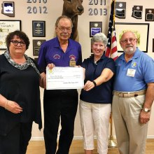 Sig Danielson, Exalted Ruler of the Catalina Mountain Elks Lodge No. 2815 and Ira Cohen, Arizona Elks Major Projects Coordinator present a check for $1,000 to Teens Sew Cool President Linda Shannon-Hills and Executive Liaison Kathleen Morgan Squires.