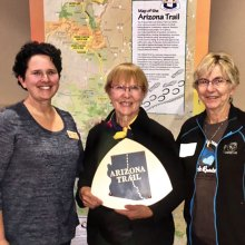 Wendy Lotze, Arizona Trail Volunteer Coordinator, with Elisabeth Wheeler and Mary Croft; photo by Frank Earnest