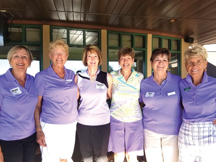 SaddleBrooke Lady Niners at Invitational are Joyce Sutay, Sue Averill, Harriett Rosenberg, Christine Smith, Pat Dale and Margery Nemura