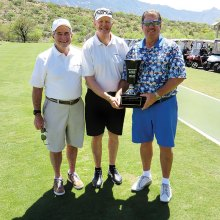 Allen DeHart, Dave Thomas, President of SaddleBrooke Links Players Fellowship and Alan Culley, winner of the 2017 Links Cup