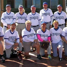 2017 Winter Season Monday Recreation League Champion – Webbscapes Landscaping, back row: Dave Good, Bobbi Noffsinger, Manager Tim Benjamin, Brian Shipman, John Vosper, Ken Schuttler; front row: Jason Noffsinger, Don Nolin, Gloria Krom, Janice Mihora, Mary Schneck, Greg Morgan