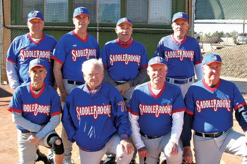 2017 Winter Season Friday Community League Champion – Community Church SaddleBrooke, back row: Chuck Kill, John Woolmington, Manager Ron Finelli, Jim Dunlap; front row: Mike Romano, Jerry Cowart, Tim Benjamin, Jim Takacs; not pictured: Mark Forsch, Harold Weinenger