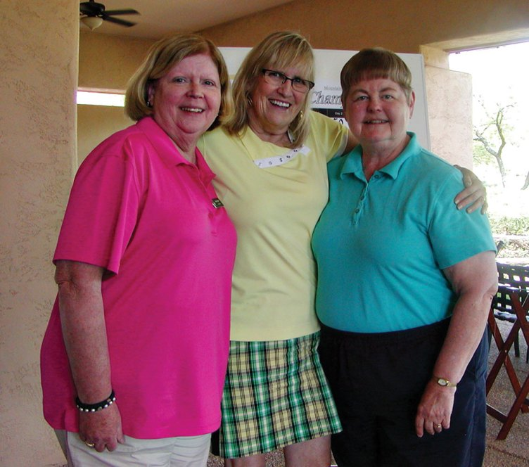 Third Flight Winners, left to right: Barbara Bloch, Kathee Johnson and Rita Smith