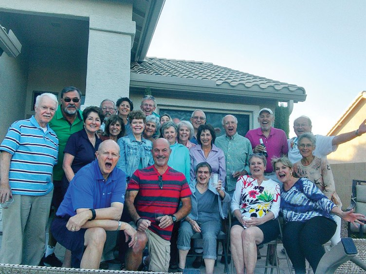 The CCSB's choir and their spouses gathered for a patio party at the Kari home.