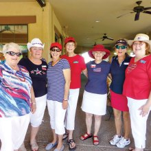 Left to right: Joanne Newman, Pat Wells, Cathy Scott, Donna Vargas, Gay Uhl, Kathy Warren and Marijo Lewis