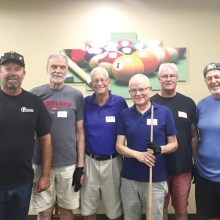"Left to right: first place Bob Fagotti and Jim ""Aviator"" Wydick, third place Bob ""O"" Ogle and Dick ""The Stick"" Schroeder, second place Dale Trudo and Jay ""The Shamrock Shooter"" Clary"