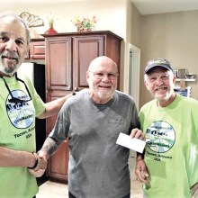 Left to right: Bob Salas (President, CycleMasters), Jerry Schudda (President, Catalina Nature Society) and Skip Brauns (Treasurer, CycleMasters)