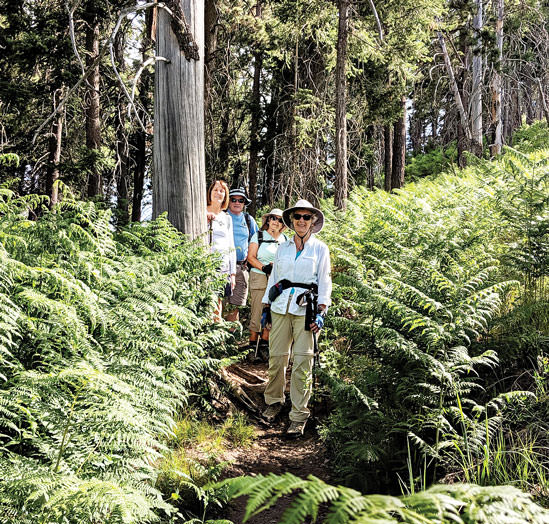 Hikers Carole Miller, Don Taylor, Karen Gray, Karen Schickedanz and Ruth Caldwell (guide). Photo by Ruth Caldwell.