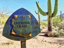 Arizona Trail marker. Photo by Elisabeth Wheeler.