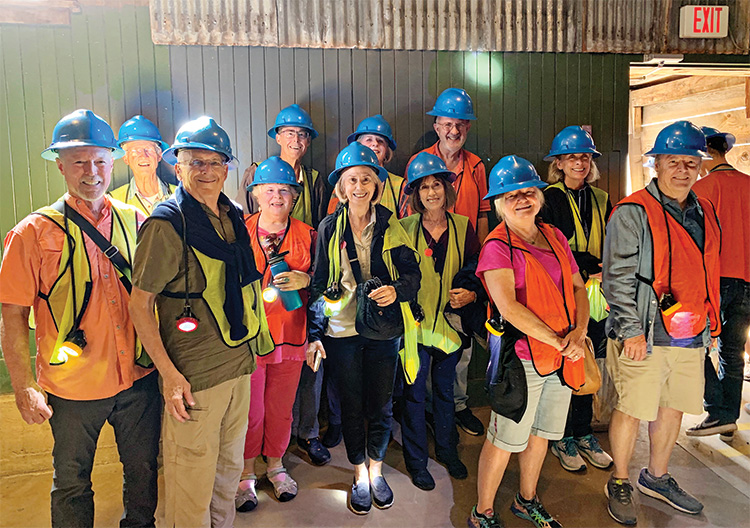 Three quarters of the group ready to go on the Queen Mine tour in Bisbee.