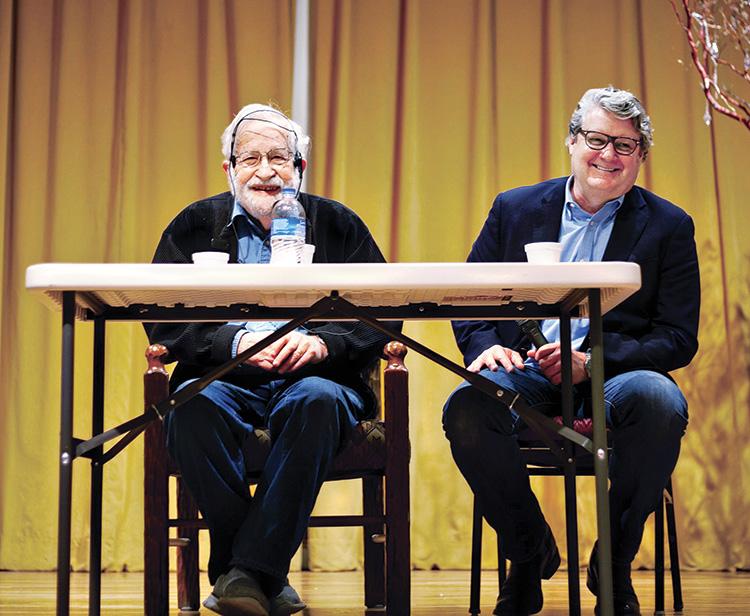 Professor Noam Chomsky and John Paul Jones, Dean of the UA College of Social and Behavioral Sciences, speak at the February 23, 2020 meeting of SaddleBrooke Freethinkers.