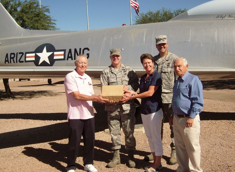 At Air National Guard, left to right: George Bidwell, President STS; A/F Major Paul Jefferson; Barb Garve, ANG Family Support; A/F M/SGT Trevor Harvey; Sheldon Israel, VP STS. undefined