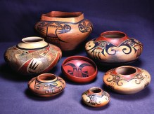 Hopi-Tewa pottery by the Nampeyo family, c. 1900-1930. Photo by Jannelle Weakly. Photo courtesy Arizona State Museum