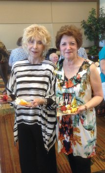 Willa Karp, left, and Sherry Weiss enjoying Meet and Greet
