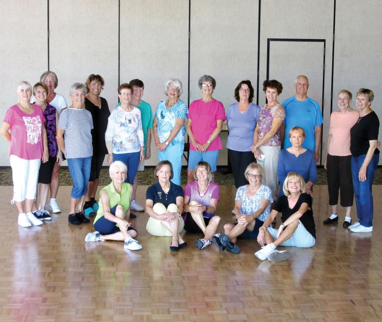 Tuesday morning level two class of line dance with Rebecca contains a mystery Ranch dancer. Can you find her? Classes at the Ranch welcomed the fall weather with new dances and loads of fun brain work.