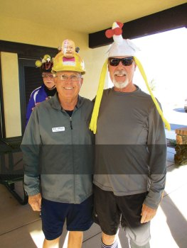 """Bob Johnson and Ken Cook in the """"crazy"""" hats"""