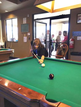 "Janette ""The Archer"" Borland, the first lady to play in a Pool Players of The Brooke's sanctioned event."
