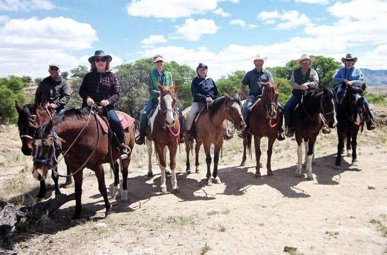 A magnificent seven ride, left to right: Bob Johnson, Alyce Grover, Jean Morgan, Rebecca Williams, Don Williams, Mark Morgan and Loretta Johnson