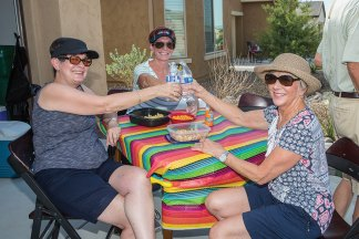 Jodee Weiland, CJ Halverson and Kathy Tossey toasting a great day